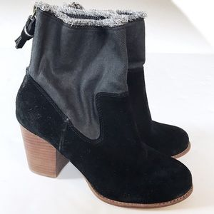 Splendid Shoes - Splendid Suede & Denim Heeled Black Booties